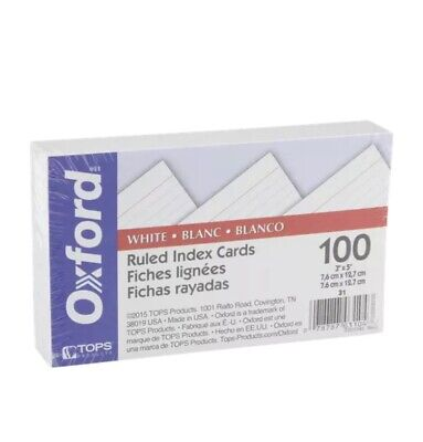 Oxford 31 3 X 5 Ruled Index Cards - White 100pack 1 Pack
