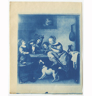 Cyanotype Of Painting   Kids  Dog  Man  Cat Dancing  Lady Playing Recorder