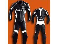 Black yamaha leather one piece motorbike suit
