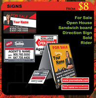 Real Estate Signs- For Sale - Open House- Rider- Sandwich Board