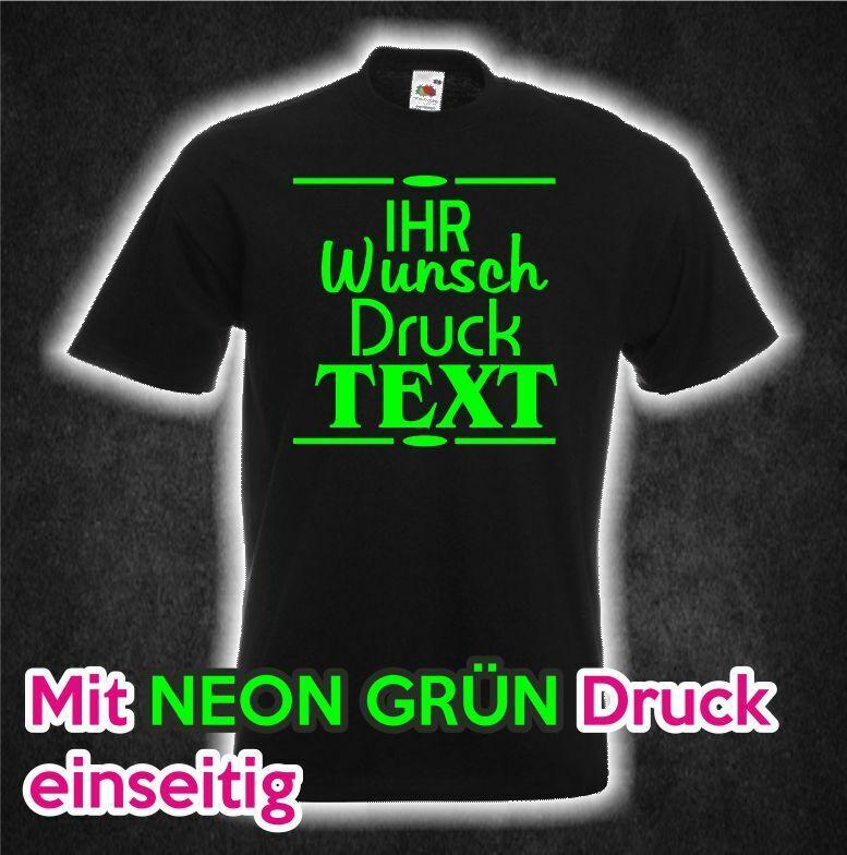 Firmen T-shirt schwarz NEON GRÜN Druck Wunsch Aufdruck Motiv Text bedruckt