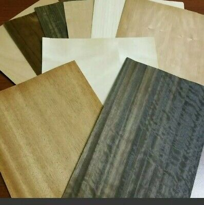 Wood Veneer 8 X 10 65 Pieces Sheets Mixed Domestic Exotic Box Variety Art Pack