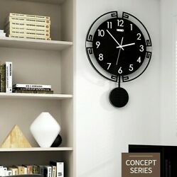 Modern Black Large Wall Clock Design Mounted Hanging Watch Room Home Decor New