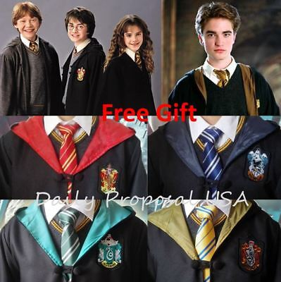 Hp2 Harry Potter Adult   Kids Robe Cloak 4 Houses S 2Xl Halloween Costume Usa