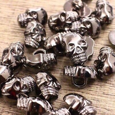 Lot 100 9x12mm Gunmetal Skull Head Shank Button Shirt Skeleton Head DIY Crafts - Diy Skeleton Costume