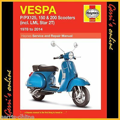 0707 Haynes Vespa P/PX 125, 150 & 200 scooters 1978 - 2014 Service Manual