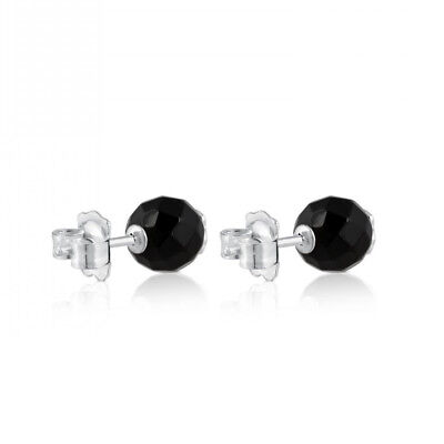 Black Faceted Agate Bear Earrings Titanium Black Onyx Bear Earrings