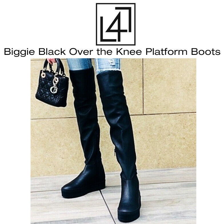 Lust For Life Biggie Black Over the Knee Platform Boots Wome