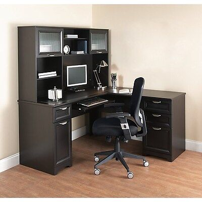 NEW L-Shaped Office DESK with HUTCH Computer Executive Corner Table Furniture BK L-shaped Office Table