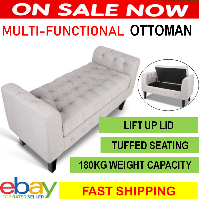 Remarkable Details About Storage Ottoman Bench Bedroom Decor Furniture Extra Lounge Seat Large Footstool Customarchery Wood Chair Design Ideas Customarcherynet