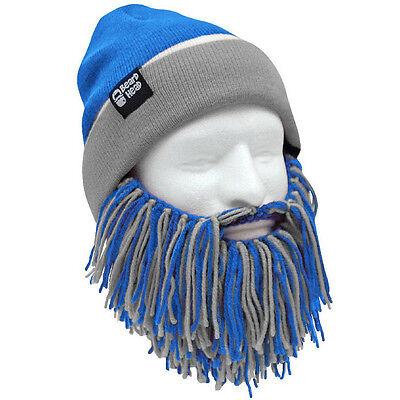 e7013507c97 Detroit Lions Blue Grey Knit Football Beard Ski Face Mask   Winter Hat NEW +