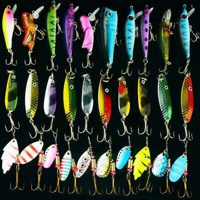 USA Lot 30 pcs Kinds of Fish Fishing Lures Crankbaits Hooks Minnow Baits Tackle