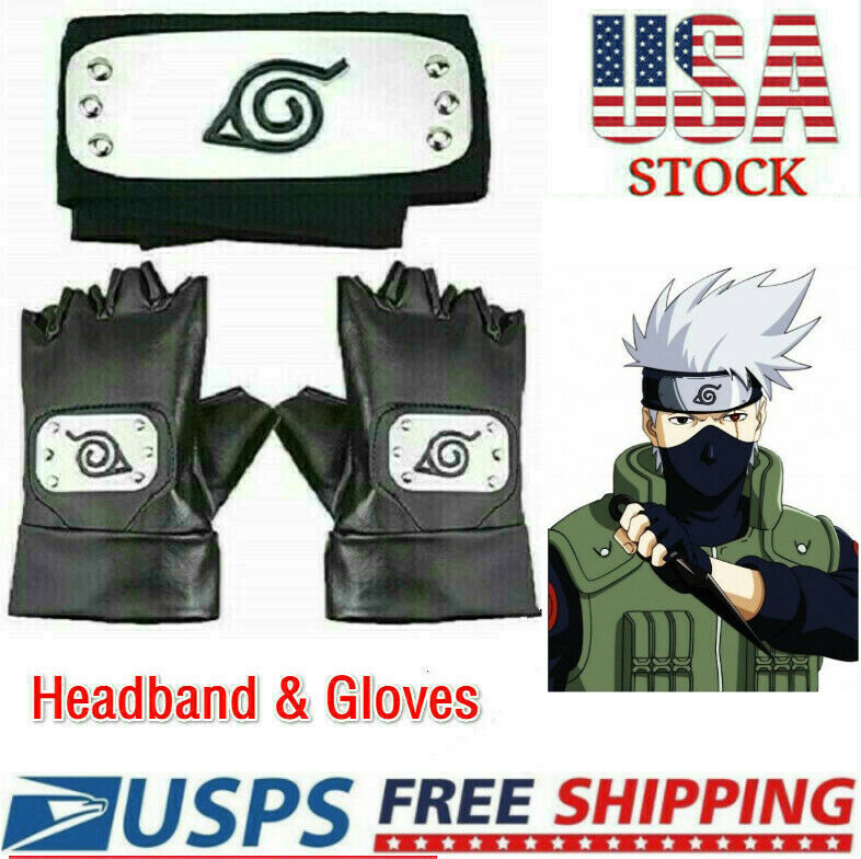3X Naruto Headband Leaf Village Headband and Cosplay Gloves Hatake Kakashi Ninja