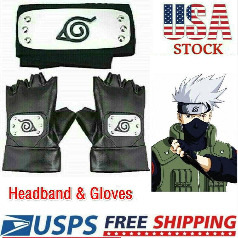Naruto Headband Leaf Village Headband And Gloves Cosplay Hatake Kakashi Ninja US