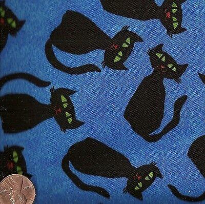 Fall Fright black cats on blue Halloween Free Spirit fabric