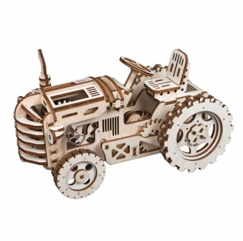 NEW 3D Wooden Puzzle DIY Gear Drive Tractor Building Kits Toys Hobbies For Kids