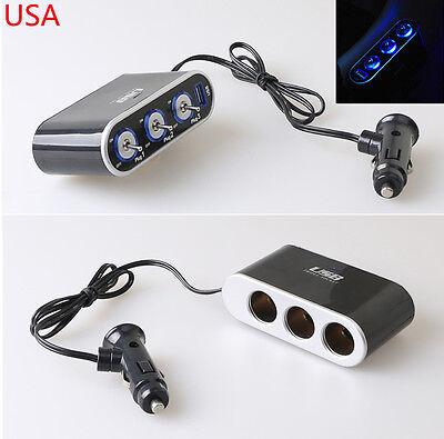LED Light Switch+3 Way Car Cigarette Lighter Socket Splitter Charger 12V/24V CAR ()