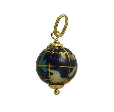 14k Yellow Gold Globe (14K Yellow Gold Hollow Small Color Enamel Globe World Planet Earth Charm)