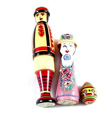 Very Nice Lot Set of 3 Wooden Dolls