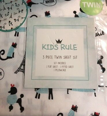 KIDS RULE 3 PC EIFFEL TOWER CATS DOG POODLES PARIS TWIN SHEET SET SHEETS NEW