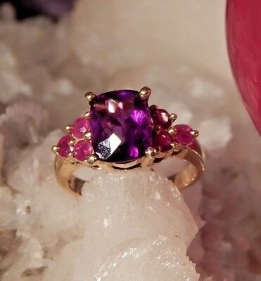2.19 CT Rectangular Cushion Rose Cut Amethyst & Ruby Ring 10K Yellow Gold ()