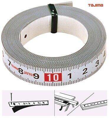 TAJIMA Stahlband Bandmaß selbstklebend 1 , 2 , 3 od. 5m lang B13/16mm - kürzbar (Maßband Ende)