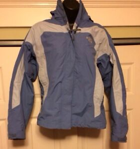 The North Face Hyvent Light Blue Hooded Jacket Zip-In ...