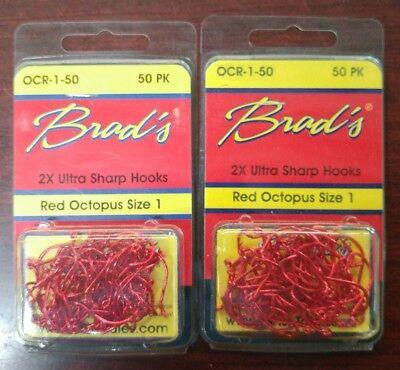 100 Red Octopus Fishing Hooks Catfish Bait Hooks, 2x Ultra Sharp!!!