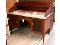 Antique Edwardian Mahogany Washstand With Marble Top And Gallery Shelf