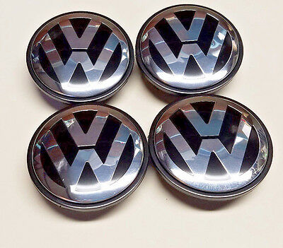 (4x VW VOLKSWAGEN LOGO CHROME BLACK WHEEL RIM CENTER HUB CAPS NEW 65 3B7601171XRW)