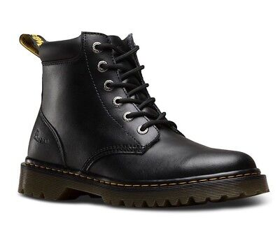 DR. MARTENS CARTOR BLACK 6-EYE CLASSIC BLACK T LAMPER LEATHER BOOTS 21630001 (Classic 6 Eye Boot)