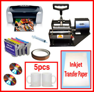 New Mug/Cup Heat Transfer Press,Epson C88,Refil,Sublimation Ink