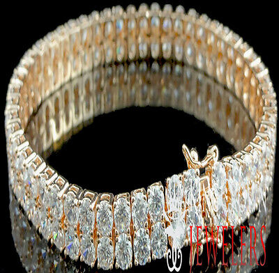 - MEN'S LADIES NEW ROSE GOLD FINISH BRASS 2 ROW A++ CZ TENNIS DESIGNER BRACELET