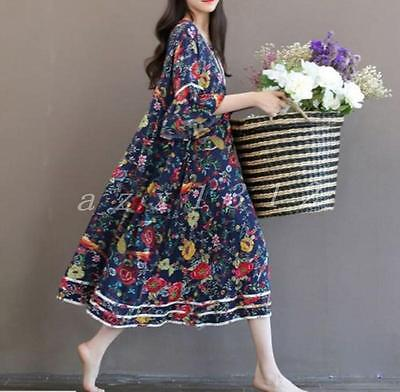 Ladies Womens Loose Fit Chinese Ink Painting Printed Cotton Long Dress Floral