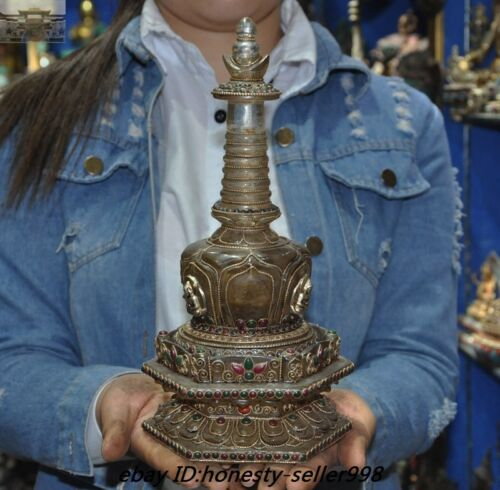 Tibet Nepal Crystal Silver Filigree inlay Gem Buddha Statue Tower Stupa Pagoda