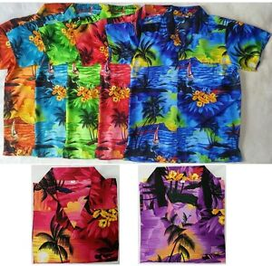 Mens-Hawaiian-Fancy-Dress-Shirt-Sunset-Boat-Print-S-M-L-XL-New-in-Pack