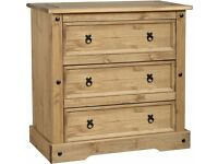 Corona 3 Drawer Chest in Distressed Waxed Pine - New - £95.50