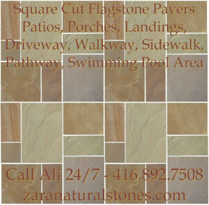 Rustic Green Square Cut Flagstone Indian Stone Patio Flagstone S