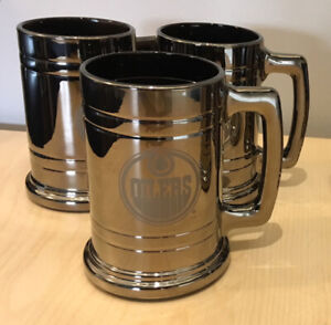 3 Edmonton Oilers, Chrome-Glass, Beer Steins - New