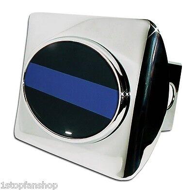 Police Blue Line Oval Emblem Shiny Chrome Metal Hitch Cover Law Enforcement Cop