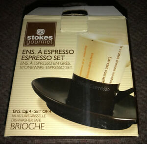 New in Box set of 4 Stokes Gourmet Espresso Coffee Cups Saucers
