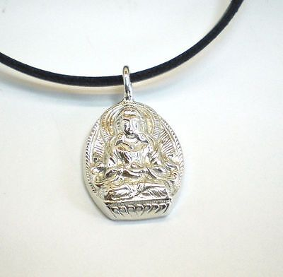 SUPER!! Buddha 925 Silber + Lederband Anhänger Amulett asiatisch massiv schwer