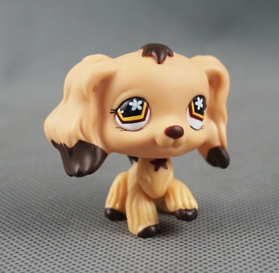 Littlest Pet Shop LPS#575 Toys Cocker Spaniel Dog Brown Dipped Ears Flower Eyes