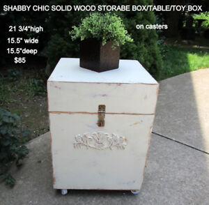 1 OF A KIND SOLID WOOD SHABBY CHIC TABLE/STORAGE UNIT