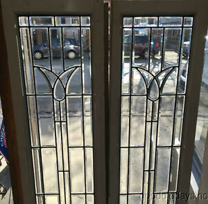 2 Vintage Beveled Glass Doors / Sidelights Window from Chicago 72