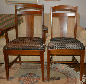 Antique oak dining chairs - six