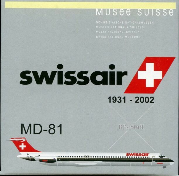 RARE SWISSAIR McDonnell Douglas MD-81 1:400 Scale Model #55431 Musee Suisse 1931-2002 - Dragon Wings