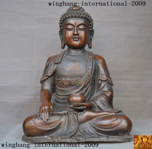"13""Tibetan Buddhism Temple Bronze Shakyamuni Shakya Mani Tathagata Buddha statue"