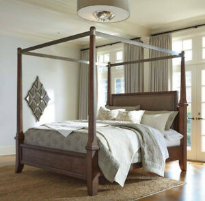 King poster bed frame and a night stand