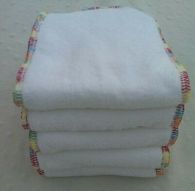- 5 Pack Cloth Diaper Inserts, 3 Layer Microfiber, Rainbow Stitching Nappy Liner